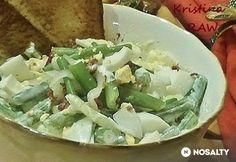 Tejfölös-tojásos zöldbabsaláta Kefir, Feta, Cabbage, Bacon, Dairy, Cheese, Vegetables, Recipes, Recipies