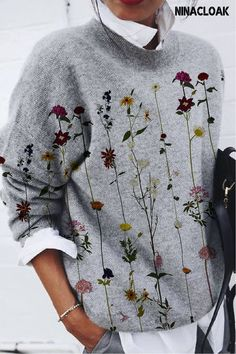 # Cotton Blend # Loose # Daily / Leisure # Round Neck # Printing # Hedging # Long Sleeve # Autumn / Winter / Spring # Casual Style # Western Outfits Women, Spring Fashion Casual, Pullover Designs, Style Casual, Over 50 Womens Fashion, Plain Shirts, Flower Fashion, Cardigan Sweaters For Women, Flower Prints