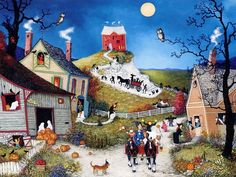 Joyful Villages - American Folk Art by  Linda Nelson Stocks  - Halloween in the Village,  American Folk Art  Paintings