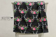 "1 DOUBLE-SIDED medium/large ""floral antlers"" baby blanket {size 26""x37""} fabric print on front and back."