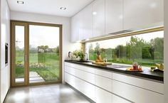 The Ideal Approach to Awesome Kitchen Window Design In feng shui, the kitchen is regarded as the area of the house that sustains life and nourishes the family, along with being a sign of wealth. Kitchen Room Design, Kitchen Cabinet Design, Modern Kitchen Design, Home Decor Kitchen, Modern House Design, Interior Design Kitchen, Kitchen Ideas, Kitchen Cabinets, Kitchen Inspiration