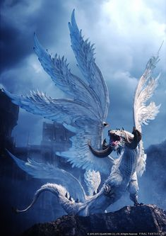 Hraesvelgr Promo More story anime Hraesvelgr Promo Art - Final Fantasy XIV: Heavensward Art Gallery Mythical Creatures Art, Mythological Creatures, Magical Creatures, Fantasy Beasts, Dragon Artwork, Dragon Pictures, Fantasy Kunst, Final Fantasy Xiv, Fantasy Dragon