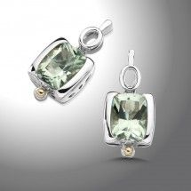 Sterling Silver and 18K Gold Green Amethyst Earrings