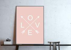 Digitaldruck - >>----> LOVE, arrows, rosé / Poster DI... - ein Designerstück von goodGirrrl bei DaWanda