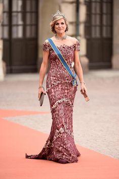 Königin Máxima der Niederlande auf der Hochzeit von Prinz Carl Philip von Schweden und Sofia Hellqvist, Juni 2015