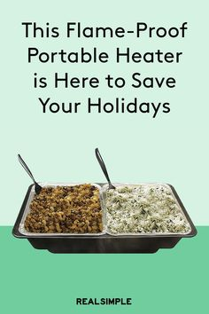 This Flame-Free Portable Food Heater is Here to Save Your Holiday Parties | When hosting (or even just contributing to) a party, everything can be perfectly planned—the menu refined, the dishes shined, the drinks made-to-order—but it might still fall flat if the food is cold. This party-ruiner poses the largest threat to large gatherings.  Keep food warm for as long as the party lasts with the latest portable food heater from Sterno.  #kitchenessentials #entertainingtips #realsimple