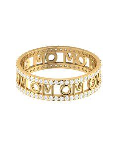 Zircon-Studded Silver OM Ring with Rhodium Plating