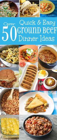 Over 50 Quick and Easy Dinner Ideas with Ground Beef - easy dinner ideas and recipes using ground beef that are delicious for family and simple enough for busy weeknights. (simple dinner recipes for family) Easy Dinner Ground Beef, Ground Beef Recipes For Dinner, Easy Dinner Recipes, Dinner Ideas With Beef, Beef Dishes, Food Dishes, Main Dishes, Chefs, Meat Recipes