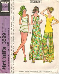 McCalls 3599: Use this 1970s vintage sewing pattern for misses to sew a carefree, flattering summer ensemble of A-line dress, top, long pants, and shorts! - Top and ankle-length dress has A-line flare, with scoop neckline, French darts, and back zipper closing. Leave sleeveless or add