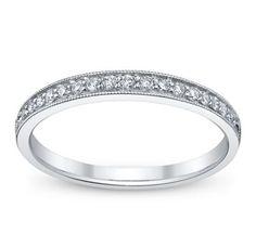 14K White Gold Diamond Wedding Ring 1/6 ct tw