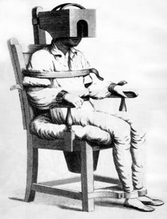 Tranquilizer Chair from Bedlam - treatment of the mentally ill featured in Delirium by J.F.Penn