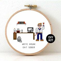 Funny cross Stitch kit for beginners. DIY gift for blogger or gift idea for writer. Christmas gift writer. write drunk edit sober quote . Buy directly from the designer at www.Studio-koekoek.com