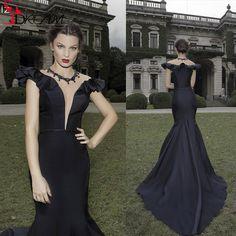 New Sexy Black Satin Mermaid Long Evening Prom Dresses 2016 Tarik Ediz Collection Women Formal Gowns vestidos de fiesta