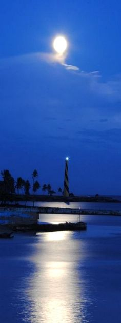 San Souci lighthouse and the perigee Moon, in the Dominican Republic. Credit: Goku Abreu.