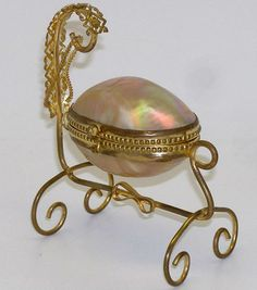 Antique French Mother of Pearl 'Egg' Casket Infant Cradle