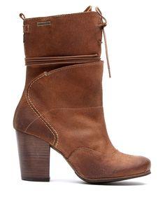 Bota en piel marrón con cordones - Botas - Zapatos - Mujer