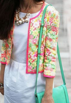 White dress with a floral blazer or sweater and pearl necklace <3