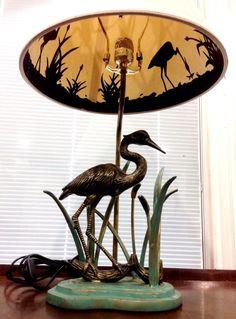 Wading Crane Brass Herron Bird Table Lamp Shadow Shade #Unbranded