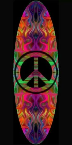 ☮ American Hippie Psychedelic Art ~ Peace Sign  ☮ Surfboard