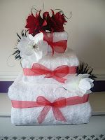 Square Wedding Towel Cake.