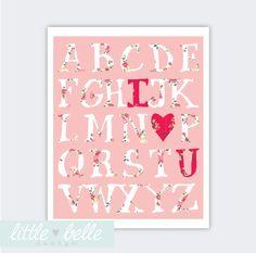 "Printable Nursery Art - Love Alphabet 8 x 10"" Print - Nora's Room"