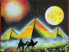 egyptian pyramid painting egypt wall art homedecor gifts history spray paint by FloralFantasyDreams
