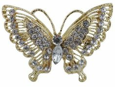 Ladies Gold with Clear Iced Out Butterfly Brooch & Pin Pendant JOTW. $2.95. Great Quality Jewelry!. This brooch & pin measures 1.75 inches from left to right and 2.5 inches from top to bottom.. 100% Satisfaction Guaranteed!