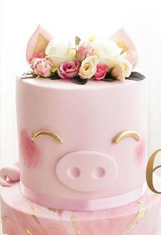 Gorgeous Cakes, Pretty Cakes, Cute Cakes, Amazing Cakes, Pretty Birthday Cakes, Baby Birthday Cakes, Piggy Cake, Ganache, Animal Cakes