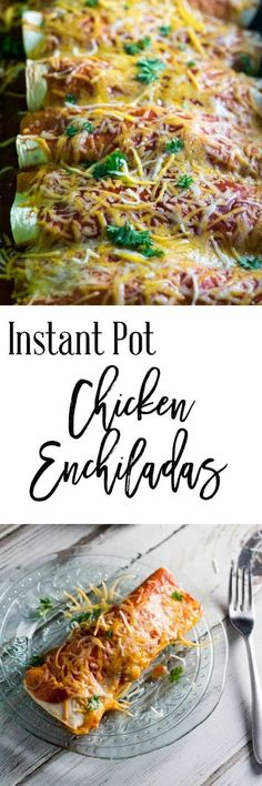 When you don't have a lot of time during the work work, try this Instant Pot chicken enchiladas recipe.  It can be on your table in about 30 minutes and is a wonderfully juicy dinner option.  It's only 11 SmartPoints per serving (2 enchiladas) on Weight Watchers, so it's healthier than your favorite Mexican restaurant. via @dashofherbs