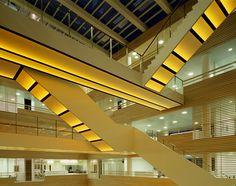 Steven Scott   Seventy Seven   seven storey light art installation forming the central atrium of the 3XN-designed Deloitte headquarters, Copenhagen.