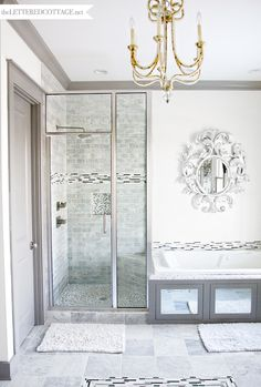 Modern Bathroom   Sophisticated   Marble   Silver Gray White   The Lettered Cottage