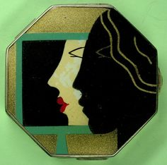 C 1931 French Art Deco 'Powder Watch' Powder Compact. @Deidré Wallace
