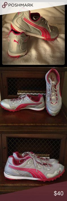 Puma Sneakers Fuchsia pink and silver running sneaker. Great condition. Worn less than 7 times. Selling as is. Pilling inside back of heel. Puma Shoes Sneakers