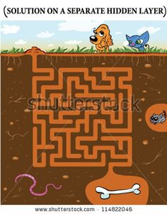 Cute Dog'S Maze Game (Help Dog Find His Buried Bone) Maze Puzzle With Solution Stock Vector 114822046 : Shutterstock