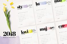 Kalendarz 2018 do druku — darmowy PDF do pobrania, wysokiej jakości designerski kalendarz na 2018 do wydrukowania za darmo z bloga