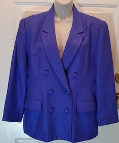 Doncaster Ladies Lined Blazer Sz 12 Petite Royal Blue 100% Silk  #Doncaster #Blazer