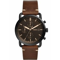 Fossil The Commuter Chronograph Black Dial Brown Leather Watch - Brown Watches For Men Unique, Fossil Watches For Men, Vintage Watches For Men, Luxury Watches For Men, Unusual Watches, Cheap Watches, G Shock Watches Mens, Mens Watches Leather, Brown Leather Watch