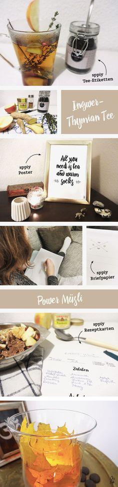 Autumn Spirit - 5 ideas: Tee Rezept Ingwer, Mülsi Rezept, Windlicht DIY, Briefpapier, Poster