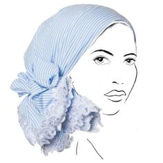 Rinati Lakel Striped Yom Yom Headscarf w/ Lace (786.175 IDR) ❤ liked on Polyvore featuring accessories and blue