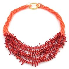 Coral Necklace Pink Red Multi-strand Chunky Artisan Handmade Jewelry