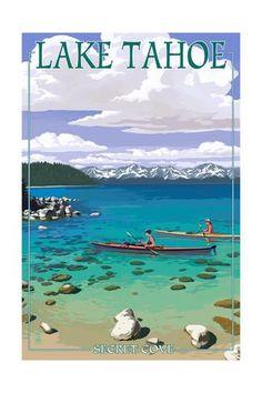 Lake Tahoe - Kayakers in Secret Cove Posters by Lantern Press at AllPosters.com