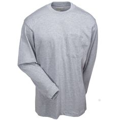 Berne Apparel Men's Long-Sleeve BSM23 GY Grey Cotton Jersey Pocket Tee Shirt