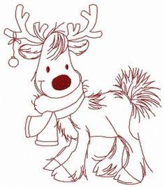 Cute Christmas deer 2 embroidery design