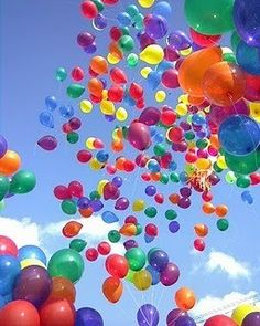 lots and lots of bright balloons