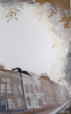 Doune Terrace, Newtown Edinburgh Collage with Watercolour and Monoprint December 2013 57cm x 92cm SOLD as part of commission of 3 pictures