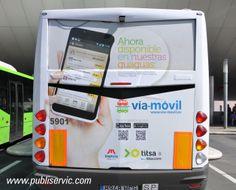 Rotulación Titsa Vía Movil. Contacta con nosotros en el 922 646 824 o vía email a mailto:comercial@... #publiservic #rotulacion #autobus Advertising