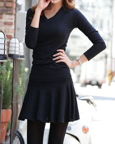 New Fashion Women Mini Dress Solid Color V Neck Long Sleeve Slim Waist Pleated Dress Black/Grey one size black Online Shopping Amy, Europe Fashion, Korean Dress, Cheap Dresses, Mini Dresses, Women's Dresses, Fashion Dresses, Elegant Woman, Latest Fashion For Women