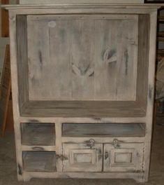 tabacco shed wood primitive furniture   TV Cabinet Hutch-Country Rustic Primitive Furniture