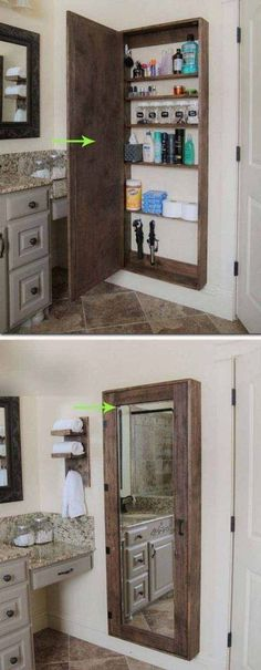 DIY Bathroom mirror storage case that holds everything. - 17 Repurposed DIY Bathroom Storage Solutions-- --not for just the bathroom. Clever Bathroom Storage, Bathroom Mirrors Diy, Bathroom Storage Solutions, Pallet Bathroom, Kitchen Storage, Creative Storage, Master Bathroom, Diy Bathroom Ideas, Bathroom Designs