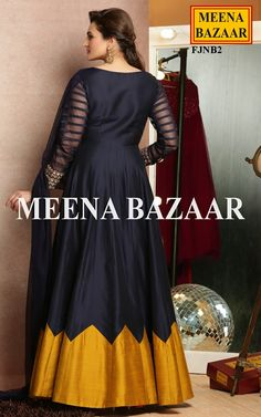 Blue Slub Anarkali Suit @ MeenaBazaar
